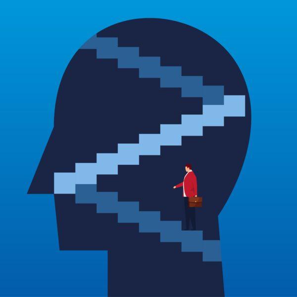 Visualisierung mit einer Treppe und einer Person in einem Kopf