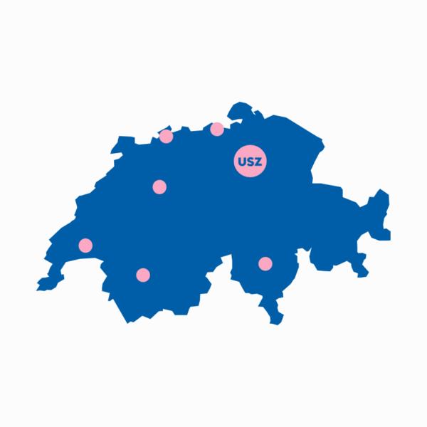 Schweizer Karte mit verschiedenen Standorten markiert