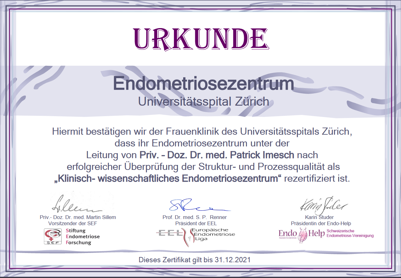 Endometriosezentrum Urkunde
