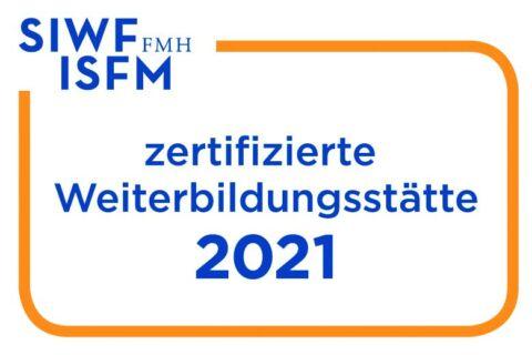 Logo zertifizierte Weiterbildungsstätte 2021 SIWF