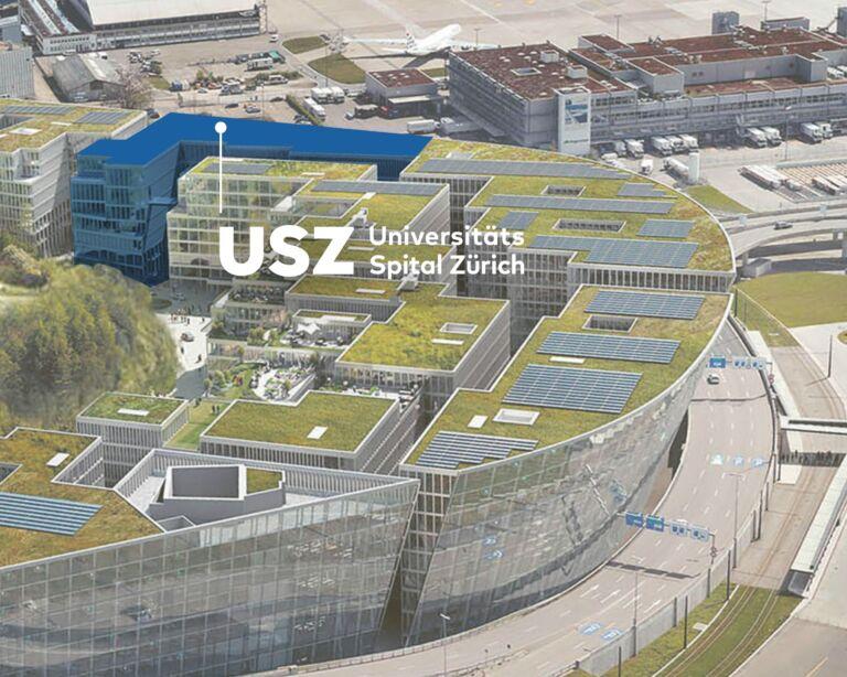 Vogelperspektive USZ Flughafen im Circle