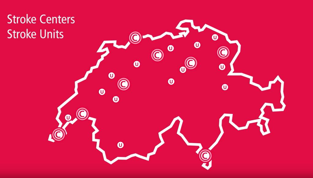 Schweizerkarte mit eingezeichneten Stroke Centers