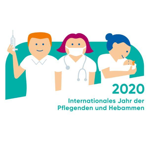 2020 Internationales Jahr der Pflegenden und Hebammen Logo