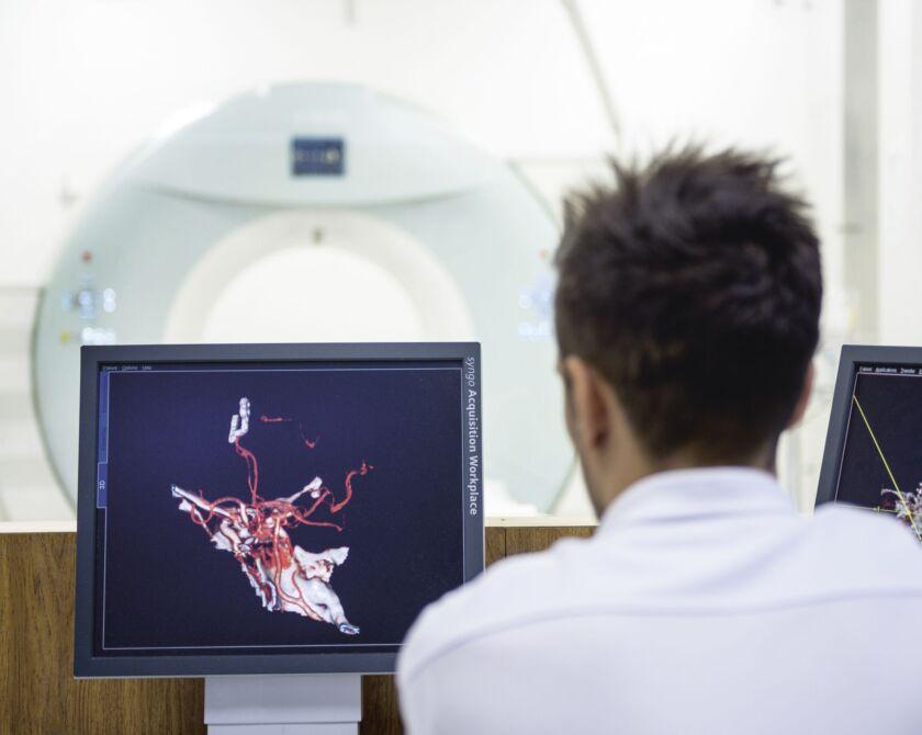 Ein Arzt schaut sich auf einem Bildschirm ein 3D Bild an