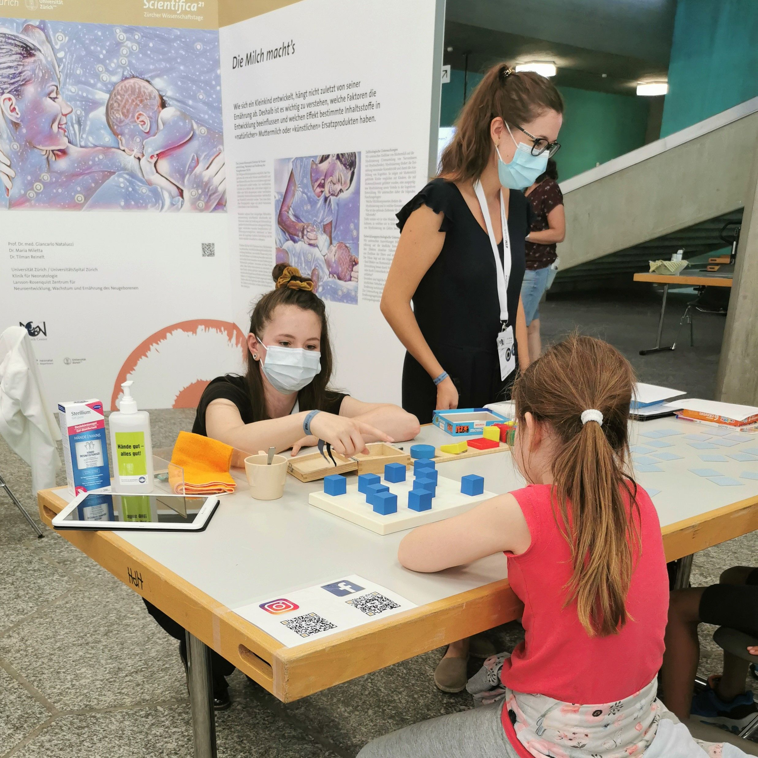 NGN Research Center Exhibition booth at Scientifica with interactive tests for children and adults