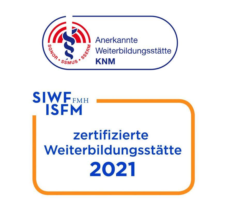 SIWF zertifizierte Weiterbildungsstätte 2021 und SGNOR Logo
