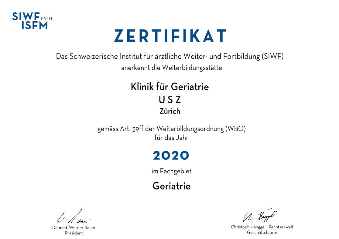 Zertifikat Geriatrie 2020