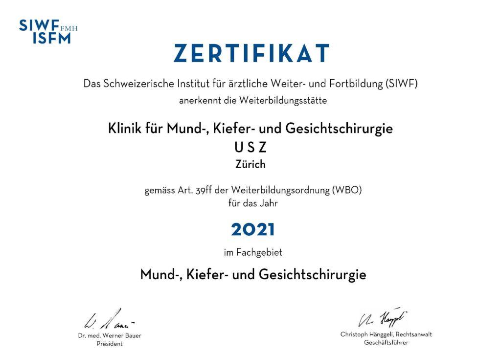 Zertifikat MKG Fortbildung