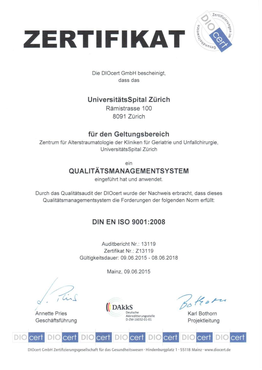Zertifikat DIN EN ISO 9001 2008