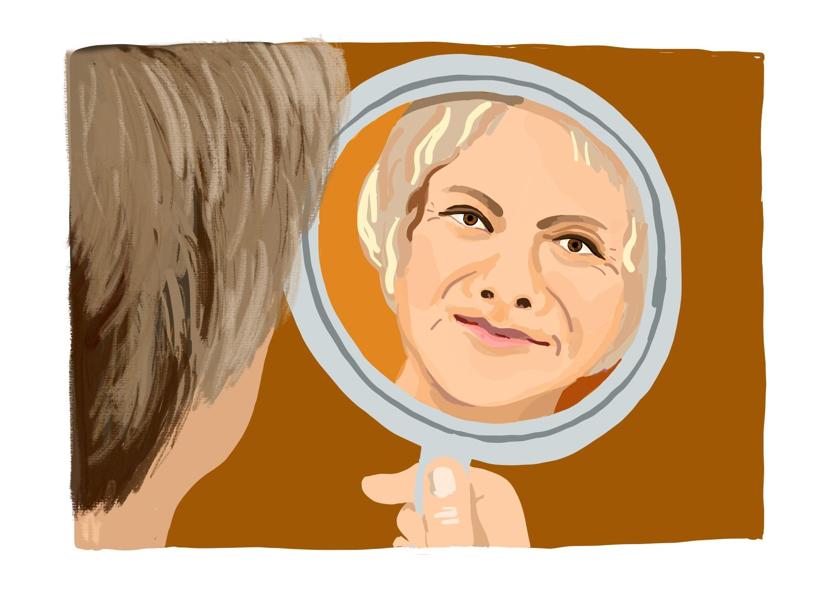Eine ältere Frau sieht sich im Handspiegel an.